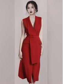 Quality Fashion Tie Waist V-neck Tank A-line Dress