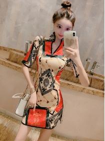 Retro Wholesale 2 Colors V-neck Flowers Bodycon Dress