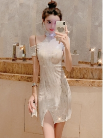Grace Fashion 2 Colors Off Shoulder Shining Slim Dress