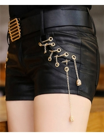Fashion Wholesale Chain Tassels Short Leather Pants