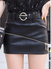 Fashion Korea Zipper Skinny Short Leather Skirt