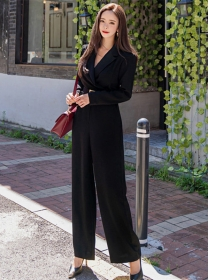 Modern New High Waist V-neck Wide-leg Long Jumpsuit