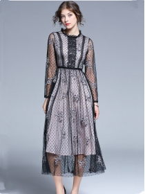 Charming Lady Gauze Flowers Embroidery Long Dress
