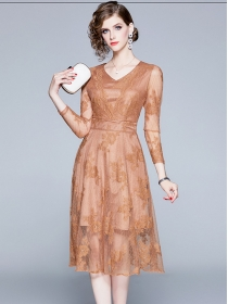 Europe Fashion V-neck Lace Flowers Long Sleeve A-line Dress