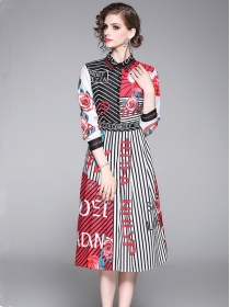 Europe Hot Selling Stripes Flowers Long Sleeve Dress