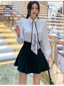 Preppy Fashion Tie Collar Puff Sleeve Blouse with A-line Skirt