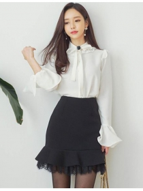 Charming OL Tie Bowknot Blouse with Lace Fishtail Skirt