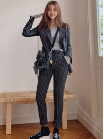 Quality Fashion Tailored Collar Stripes Two Pieces Suits