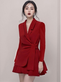 Modern Lady 2 Colors Tailored Collar Tie Waist Leisure Suits