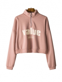 Wholesale Autumn 6 Colors Zipper Stand Collar Letters Hoodies