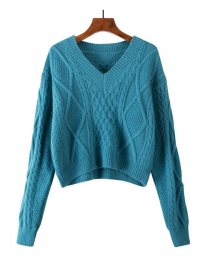 Must Have 3 Colors V-neck Twisted Short Sweaters