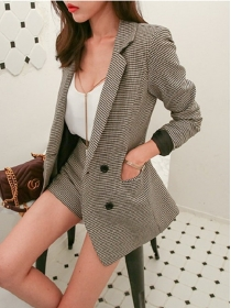 Fashion New 2 Colors Tailored Collar Houndstooth Leisure Suits