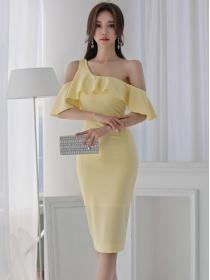 Grace Lady Flouncing Off Shoulder Bodycon Dress