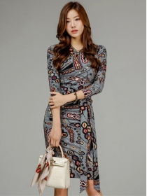 Wholesale Korea 2 Colors Tie Waist Flowers Slim Dress
