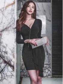 Sexy Wholesale V-neck Flouncing Skinny Long Sleeve Dress