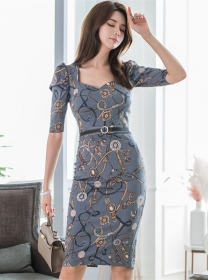 Pretty Lady Square Collar Flowers Bodycon Dress