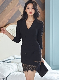 Modern Lady Double-breasted V-neck Lace Splicing Slim Dress