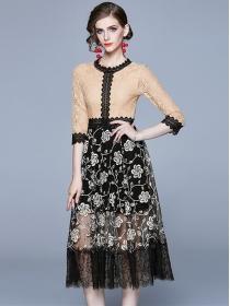Pretty Lady Round Neck Gauze Flowers Splicing Lace Dress