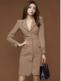 Modern Lady Tailored Collar Single-breasted Slim Dress