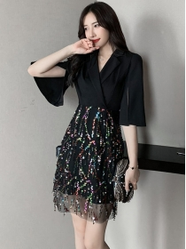 Fashion Lady Flare Sleeve V-neck Splicing Sequins Dress