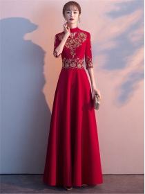 Retro Korea Flowers Embroidery High Waist Long Dress