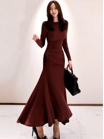 Autumn Fashion Slim Waist Fishtail Cotton Maxi Dress