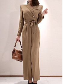 Modenr New Tailored Collar High Waist Wide-leg Jumpsuit