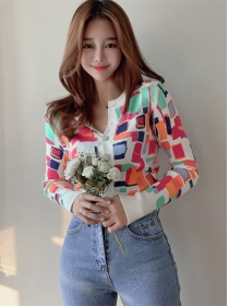 Preppy Fashion Colorful Plaids Prints Knitting Tops
