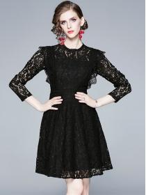 Europe Fashion High Waist Lace Flouncing A-line Dress