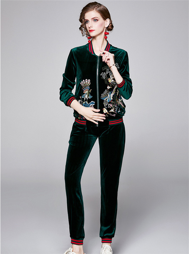 Brand Fashion 2 Colors Embroidery Zipper Open Long Suits
