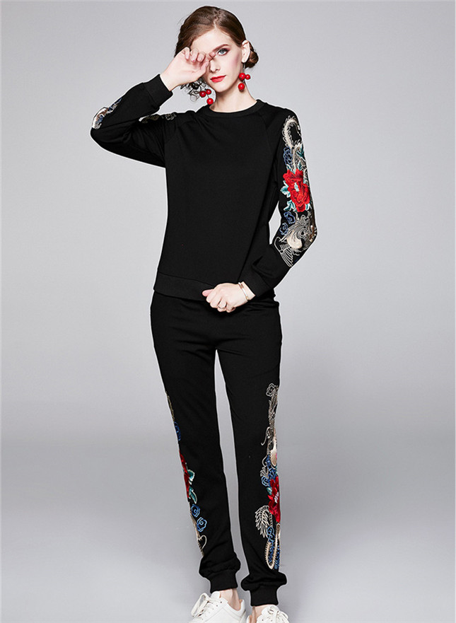 Winter New 2 Colors Flowers Embroidery Two Pieces Long Suits