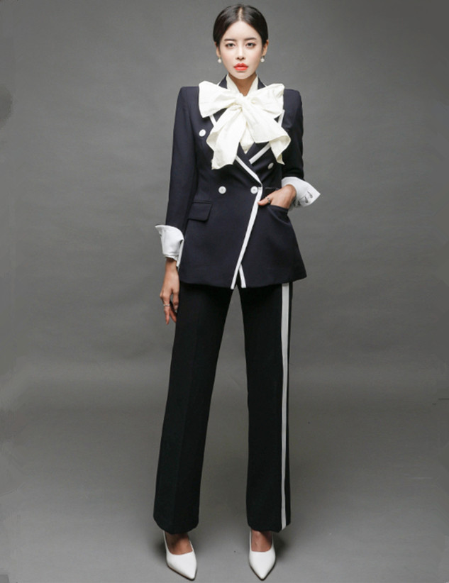 Quality Fashion Double-breasted Long Jacket with Straight Pants