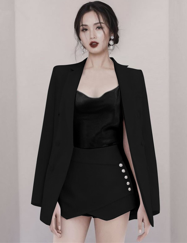 Quality Fashion 2 Colors Tailored Collar Slim Short Suits