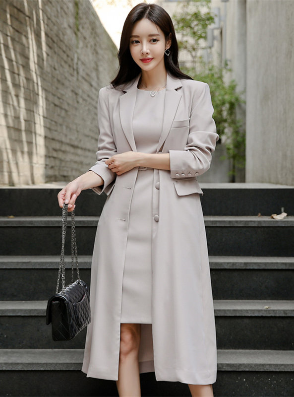 Modern Lady Tank Dress with Tailored Collar Long Coat