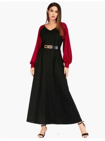 Europe Stylish V-neck Color Block Puff Sleeve Long Dress