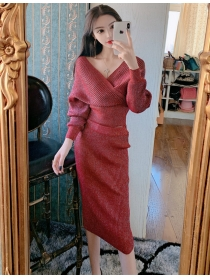 Hot Selling 4 Colors V-neck High Waist Shining Dress Set