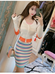 Lovely Fashion 2 Colors Zipper Knitting Tops with Stripes Dress