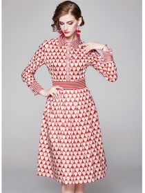 Lovely Fashion Shirt Collar Hearts Printings Long Sleeve Dress
