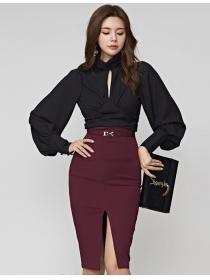 Modern OL Puff Sleeve Slim Blouse with Skinny Midi Skirt