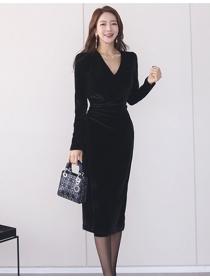 Modern Lady V-neck Tie Waist Velvet Slim Long Sleeve Dress
