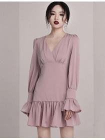 Retro Fashion V-neck Flare Sleeve Fishtail A-line Dress