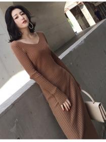 Wholesale Korea 3 Colors V-neck Slim Knitting Long Dress