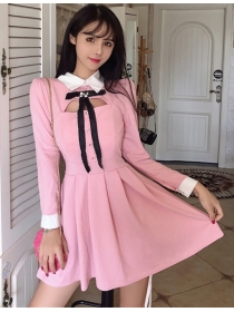 Lovely Fashion 2 Colors Bowknot Doll Collar A-line Dress