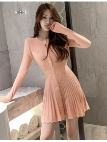 Autumn New 2 Colors Single-breasted Pleated Knitting Dress