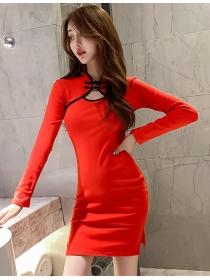 Wholesale Retro 2 Colors Split Skinny Cheongsam Dress