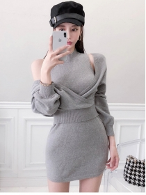 Autumn New Batwing V-neck Tops with Slim Knit Tank Dress