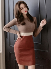 Wholesale Korea Color Block Skinny Knitting Dress