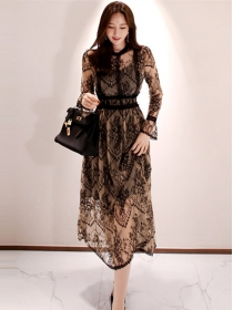 Retro Fashion High Waist Hollow Out Lace Flowers Dress