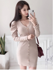 Autumn Fashion 2 Colors Single-breasted V-neck Knit Dress