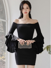 Sexy Lady Boat Neck Flare Sleeve Skinny Dress